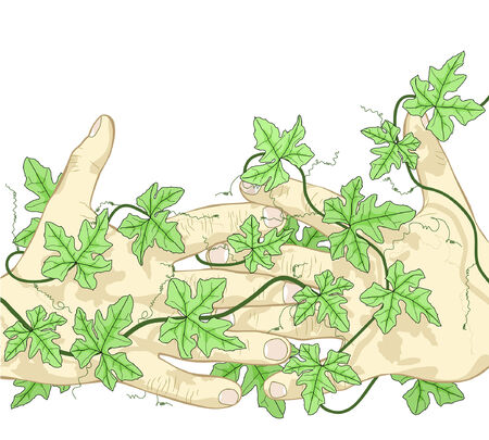 Fully editable vector illustration of hands and vines