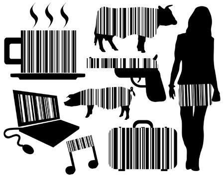 Editable vector illustraties van voorwerpen met geïntegreerde barcodes