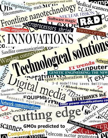 Bewerkbare vectorillustratie als achtergrond van technologische krantekoppen