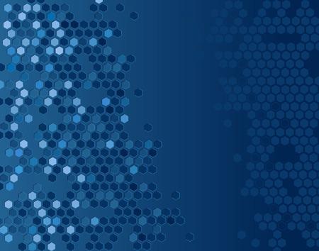 Kort editeerbaar vector achtergrond van blauwe Hexagons