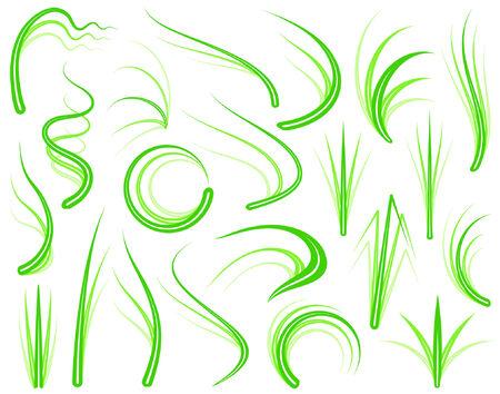 편집 가능한 벡터 잔디 디자인 요소 집합