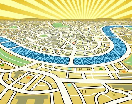 Modifiable illustration vectorielle de la carte un paysage de rue