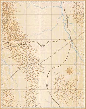 Editable Vektor-Illustration eines alten generischen Karte ohne Namen