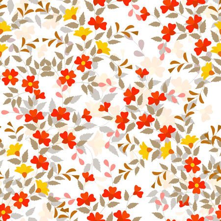 Editable vector seamless tile of generic plants