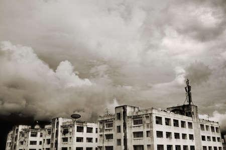 towerblock: Dirty urban tower blocks under a cloudy sky