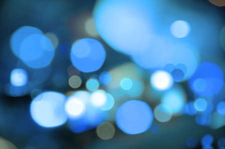 Abstract background of blue blurred street lights