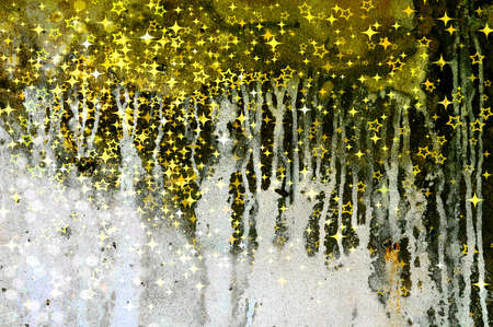 damp: Abstract dripping pattern on an old wall with golden sparkles