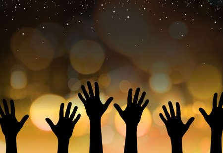 Abstract illustration of hands reaching for the stars Stock Illustration - 3728764