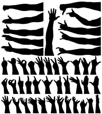 Verzameling van editeerbaar vector arm en hand schetst Vector Illustratie