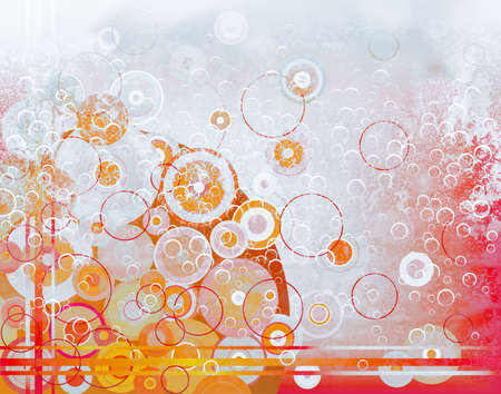 bubbling: Abstract pattern of bubbles and circles in steaming liquid Stock Photo