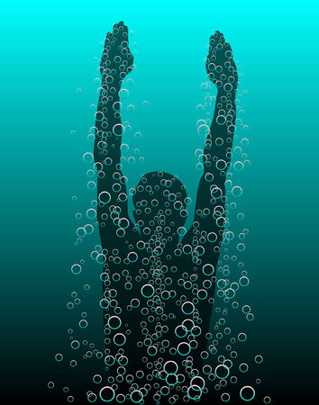 Editable vector illustration of a diver rising to the surface
