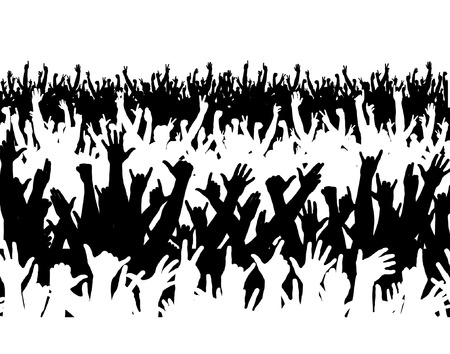 Editable vector illustration of a large crowd