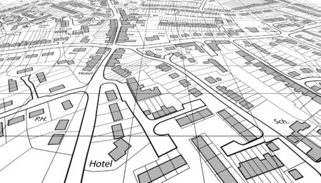 Angled view of an editable vector housing map of a generic town