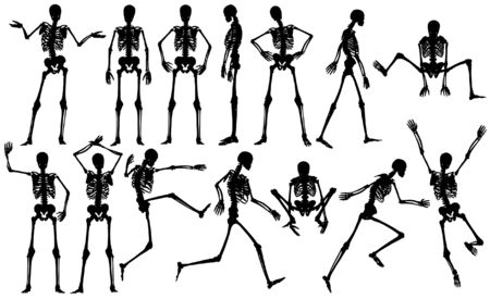 Set of editable vector male skeleton outlines