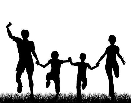 Editable vector silueta de una familia feliz corriendo a través de la hierba con una cifra cada objeto por separado