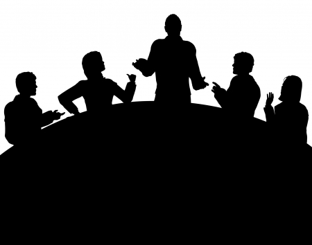 Editable vector silhouette of a business meeting with each figure as a separate object