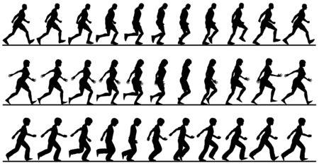 Editable vector silueta secuencias de personas que caminan