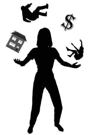 Editable vecteur silhouette d'une femme de jongler avec ses engagements Vecteurs