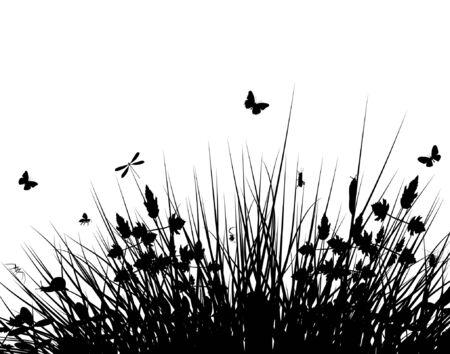 Editable vector silhouette of grassy vegetation with wildlife 向量圖像