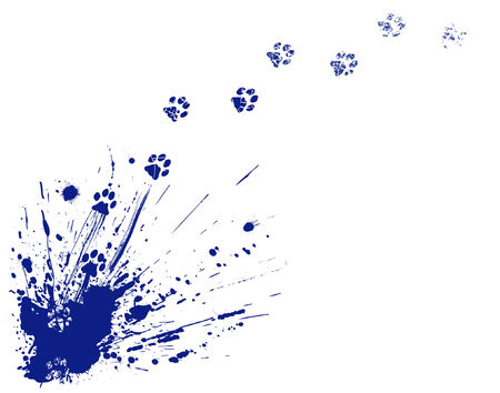 Editable vector illustration of an ink spill and cat paw-prints