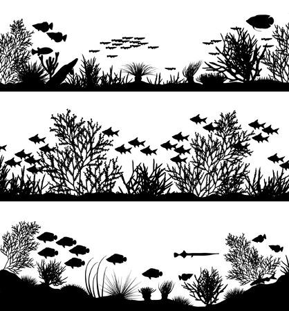 Trzy edytowalna wektora morza koralowych sylwetka foregrounds Ilustracje wektorowe