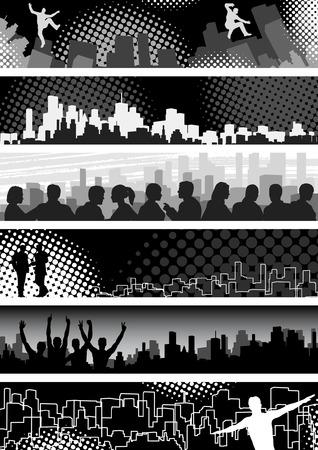 Set of editable vector banners on urban theme