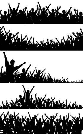 Zestaw edytowalna wektora tłum sylwetką z każdej osoby jako oddzielny obiekt Ilustracje wektorowe