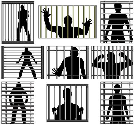 Conjunto de diseños vectoriales editables de los hombres detrás de la cárcel bares