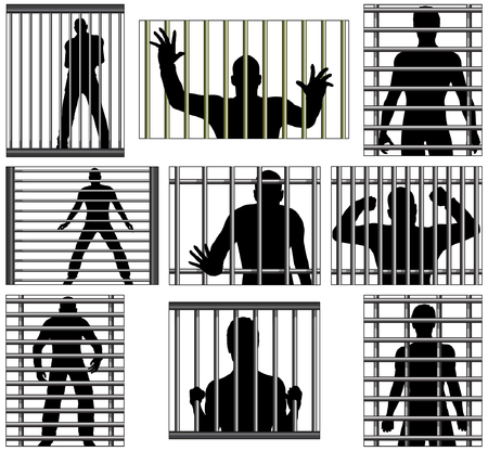 Set of editable vector designs of men behind prison bars