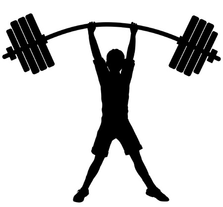 Editable vector silhouette of a boy lifting heavy weights