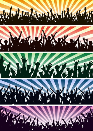 Set of editable vector concert crowd silhouettes with all people as separate objects