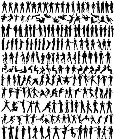 Meer dan 200 gedetailleerde bewerkbare vector mensen silhouetten Vector Illustratie