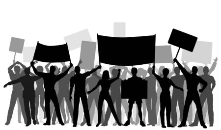 Editable vector silhouetten van demonstranten en spandoeken met alle elementen als afzonderlijke objecten