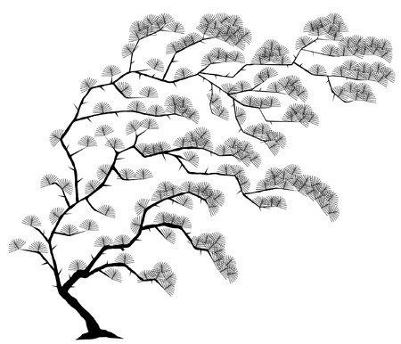 Editable vector illustration of a windblown tree with leaves as separate objects