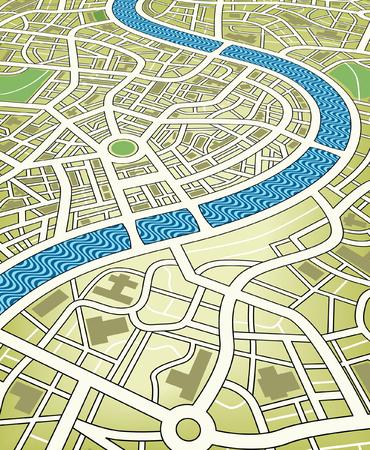 Illustrazione vettoriale modificabile nome di una mappa stradale da un prospettiva angolata