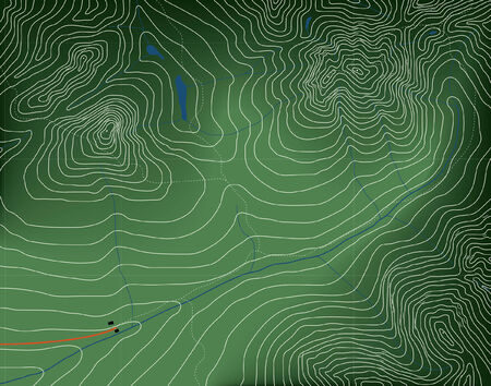 Editable vector illustration of a generic contour map of mountains Illustration