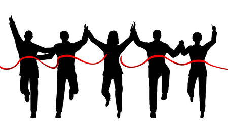 Silhouettes of a business team crossing a finishing line with each person as a separate object