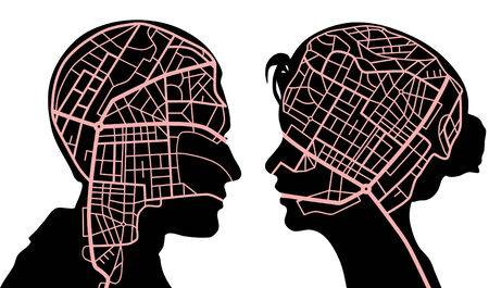 Editable vector illustratie van draaiboeken in de hoofden van een man en vrouw
