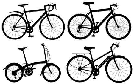 Reeks gedetailleerde editeerbare vector generieke fiets silhouetten