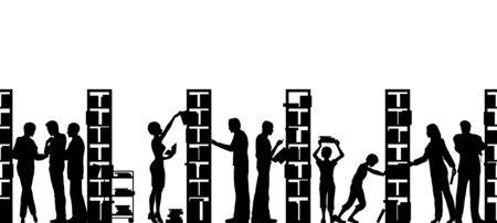 Editable vecteur silhouette de personnes dans une bibliothèque avec tous les éléments comme des objets