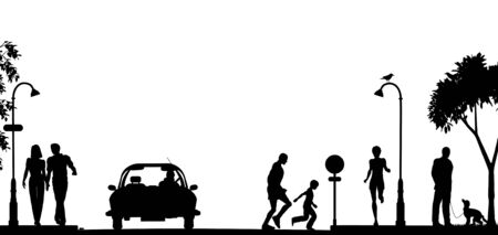 Editable vector silhouette of a busy street with all elements as separate objects Illustration