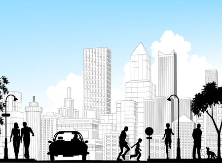 Editable vector silhouette of a busy street with city buildings as background; all silhouette elements as separate objects. Stock Vector - 5231981