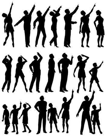 Lot de silhouettes vectoriel éditable de personnes à la recherche et pointée vers le haut