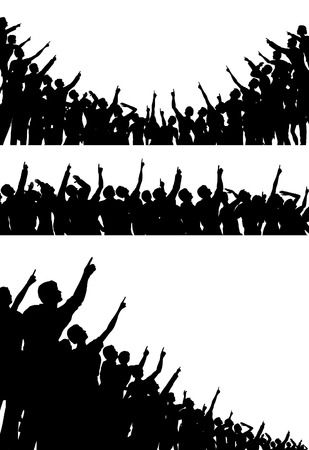 Set of editable vector silhouettes of crowds pointing and looking upwards with all figures as separate objects