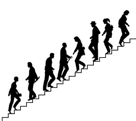 Silhouette vecteur Editable de personnes sur les escaliers avec tous les éléments comme des objets distincts