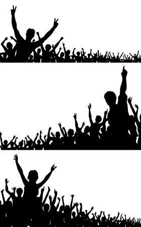Set van bewerkbare silhouetten vector menigte met iedere persoon als een afzonderlijk object Vector Illustratie