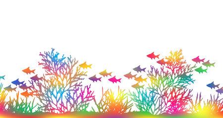 Bewerkbare vector illustratie van fel gekleurde koraal en vissen die door de mazen van een achtergrond kleur maskeren