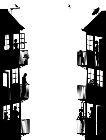 Two side panel silhouettes of blocks of flats with figures as separate objects