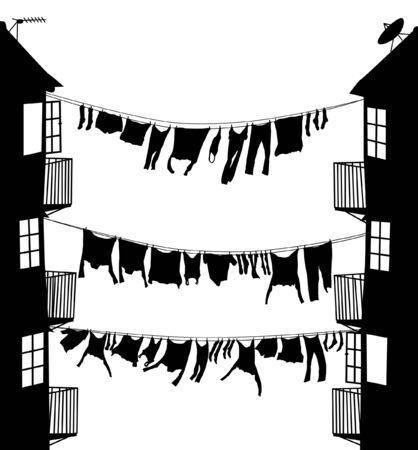 Silhouette vettoriali modificabili di panni stesi tra le case in un vicolo