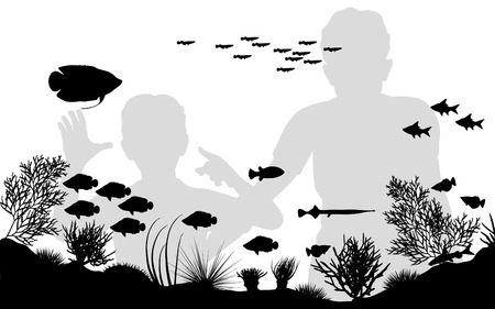 Editable vector illustration of mother and son looking at fish in an aquarium